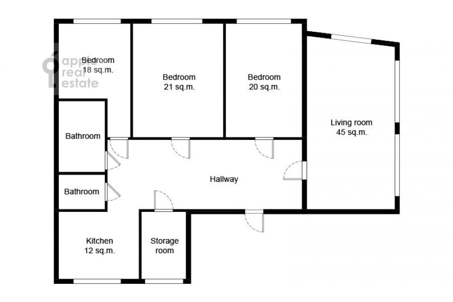 Поэтажный план 5-комнатной квартиры по адресу Хавская улица 3