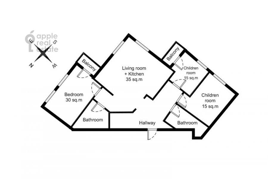 Floor plan of the 4-room apartment at Veskovskiy pereulok 3