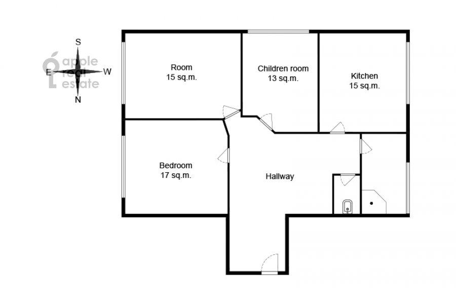 Поэтажный план 3-комнатной квартиры по адресу Крутицкая набережная 13