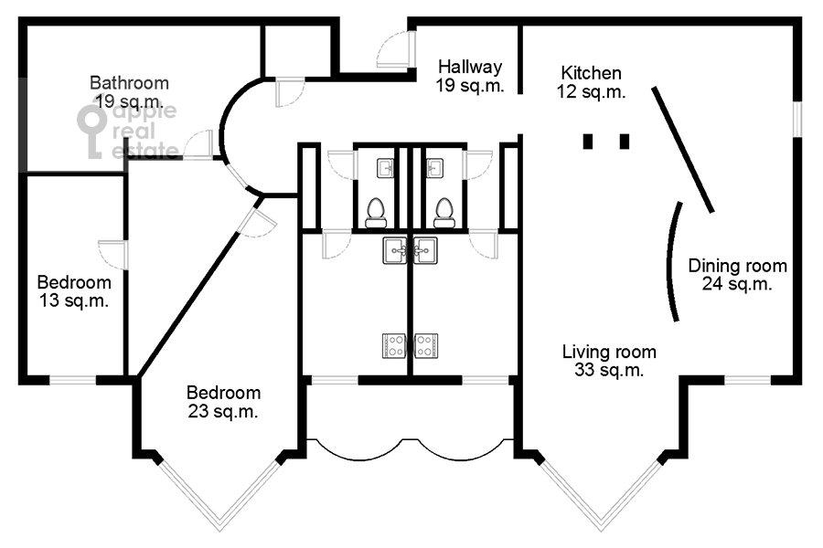 Floor plan of the 5-room apartment at Zoologicheskaya ulitsa 28S2