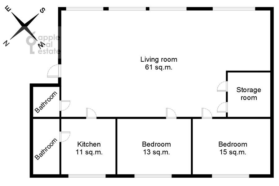 Floor plan of the 3-room apartment at Bol'shoy Patriarshiy pereulok 10