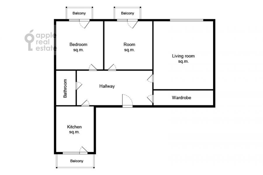 Floor plan of the 3-room apartment at Krasnokholmskaya naberezhnaya 1/15