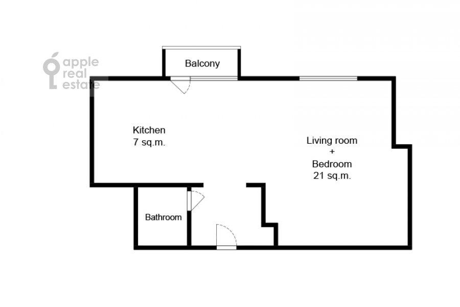 Поэтажный план 1-комнатной квартиры по адресу Покровка 38с1