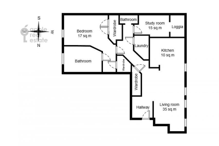 Floor plan of the 3-room apartment at Trubnikovskiy pereulok 13S1