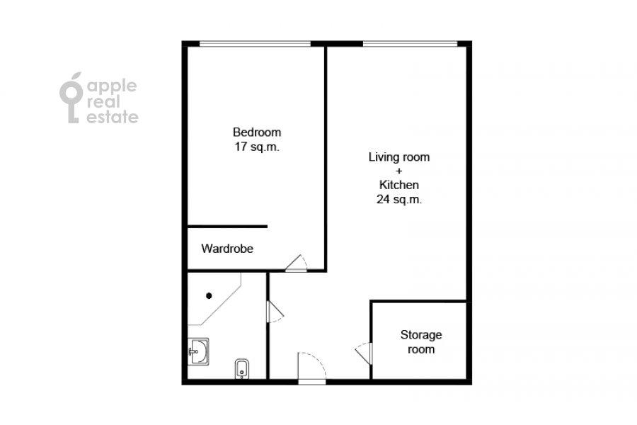 Floor plan of the 2-room apartment at Bumazhnyy proezd 4