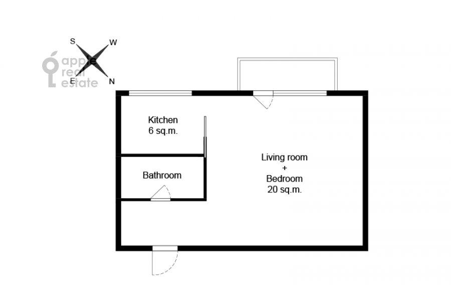 Поэтажный план квартиры-студии по адресу Красная Пресня 11