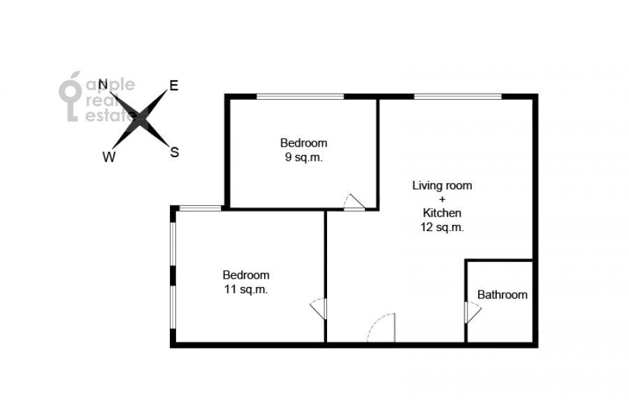 Поэтажный план 3-комнатной квартиры по адресу улица Золоторожский Вал 8