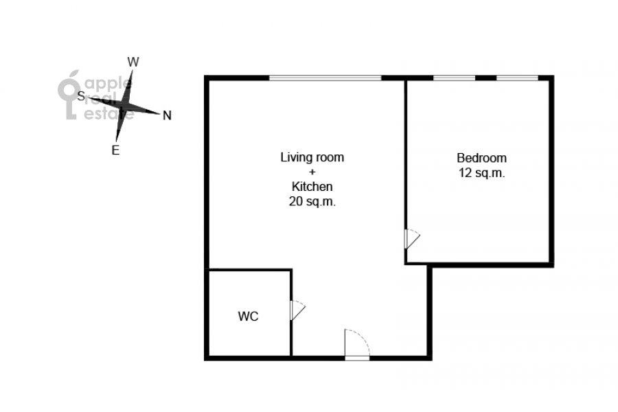 Поэтажный план 2-комнатной квартиры по адресу улица Золоторожский Вал 8