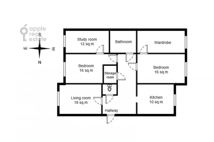Поэтажный план 4-комнатной квартиры по адресу Большая Грузинская улица 39