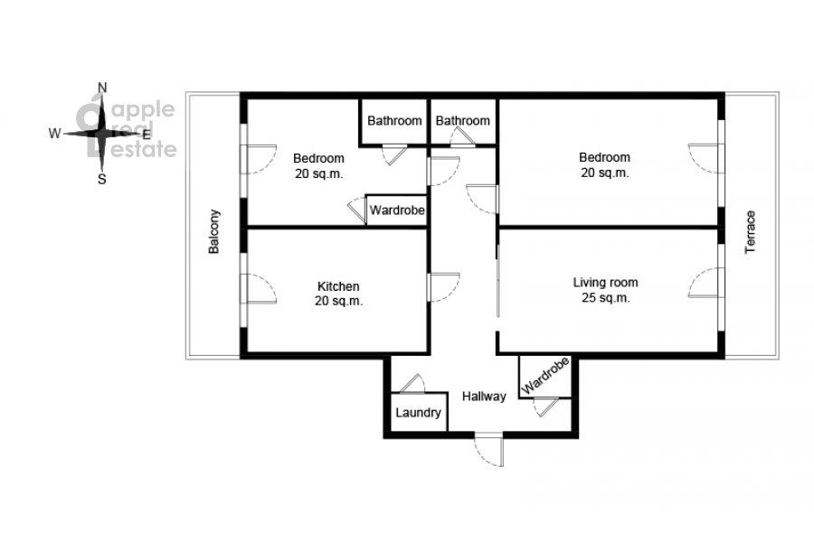 Поэтажный план 3-комнатной квартиры по адресу Большая Якиманка 22К3