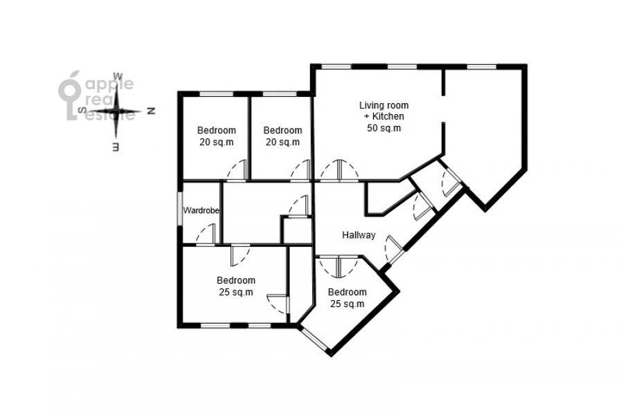 Поэтажный план 5-комнатной квартиры по адресу Минская улица 1А
