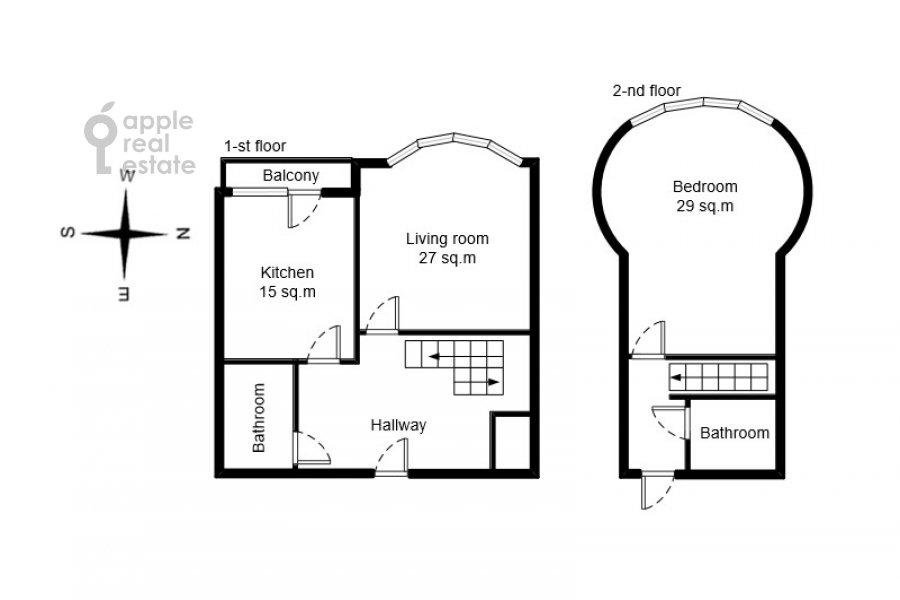 Поэтажный план 2-комнатной квартиры по адресу Алабяна 13к1