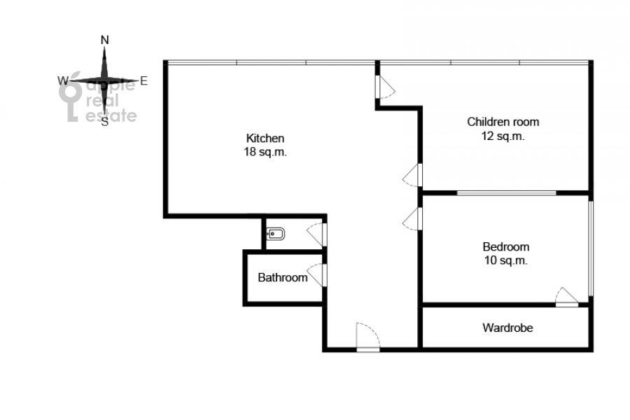 Floor plan of the 3-room apartment at 1-y Nagatinskiy proezd 11k3