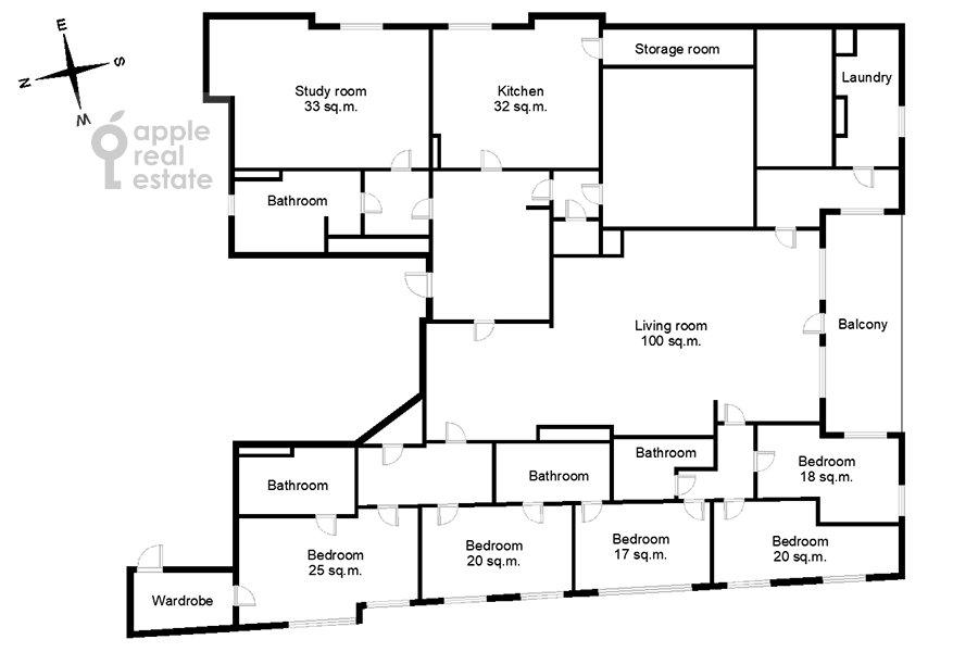 Поэтажный план 6-комнатной квартиры по адресу Земледельческий переулок 11
