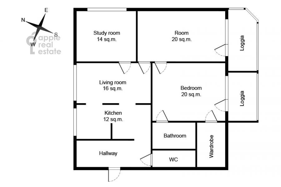 Floor plan of the 4-room apartment at Novocheremushkinskaya ulitsa 50