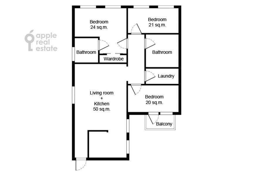 Поэтажный план 4-комнатной квартиры по адресу Леонтьевский переулок 11