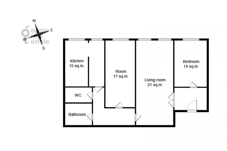 Поэтажный план 3-комнатной квартиры по адресу Малая Никитская улица 4С1