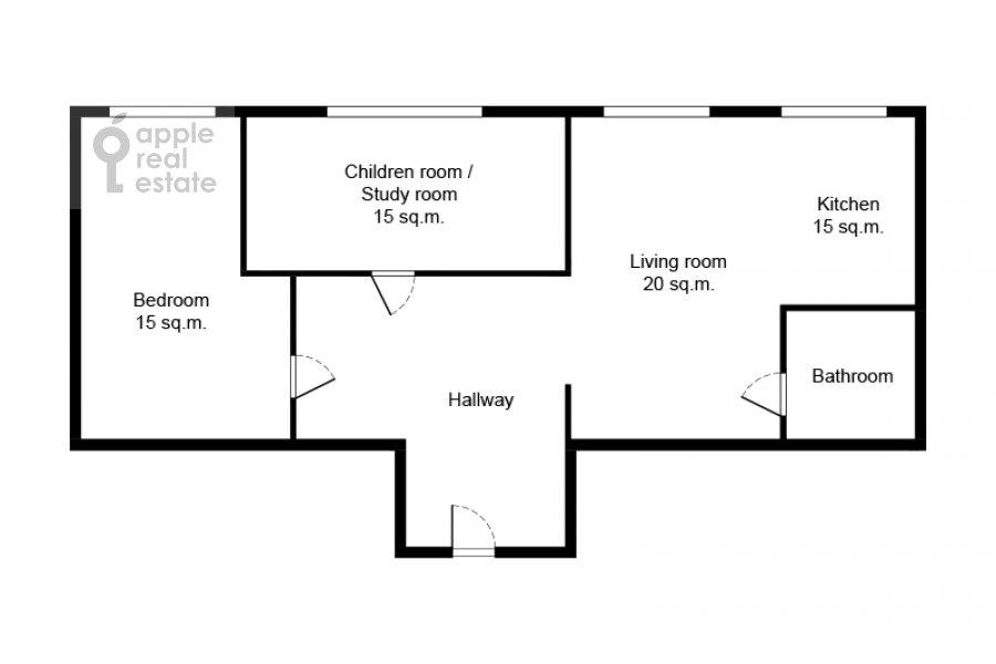 Поэтажный план 3-комнатной квартиры по адресу улица Госпитальный Вал 5К18