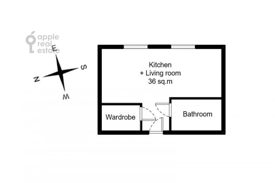 Floor plan of the studio apartment at 3-ya ulitsa Yamskogo Polya 9