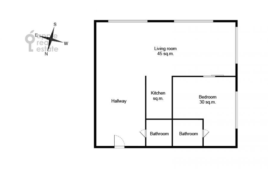 Поэтажный план 2-комнатной квартиры по адресу Ленинградский проспект 36с37
