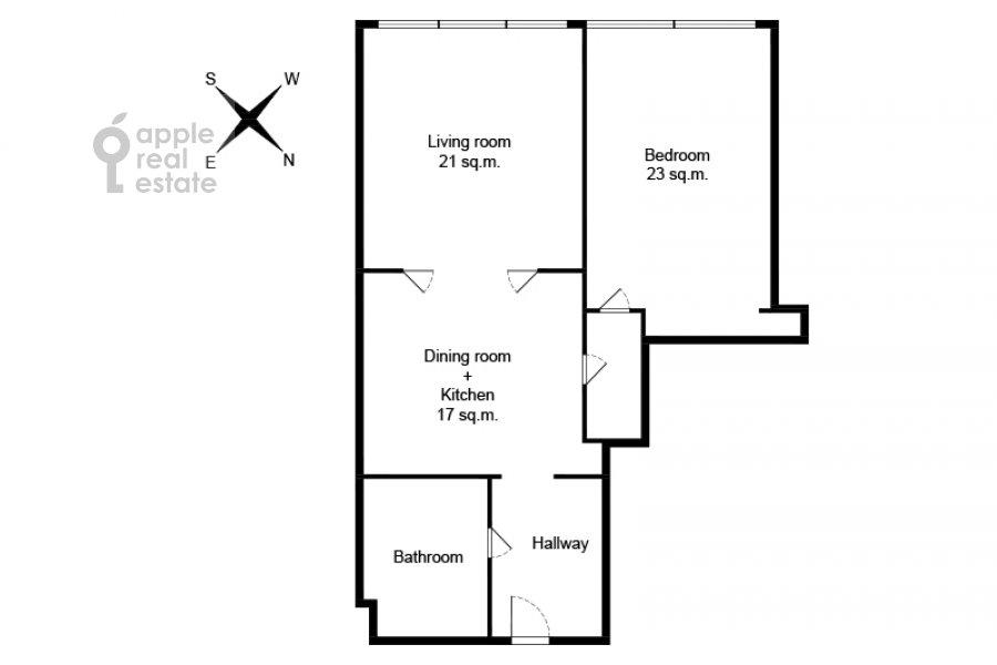 Поэтажный план 2-комнатной квартиры по адресу Большая Грузинская улица 69