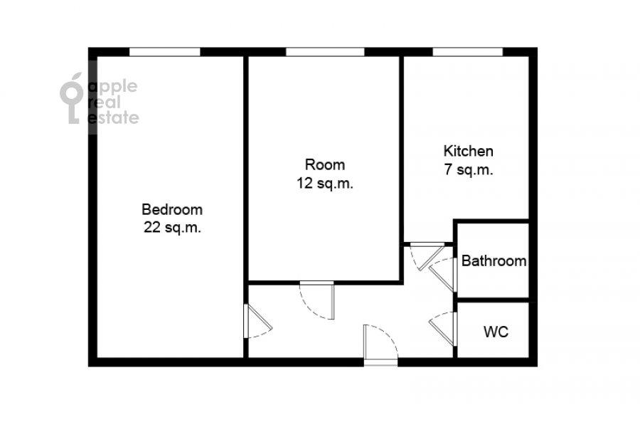 Поэтажный план 2-комнатной квартиры по адресу Новинский бульвар 15