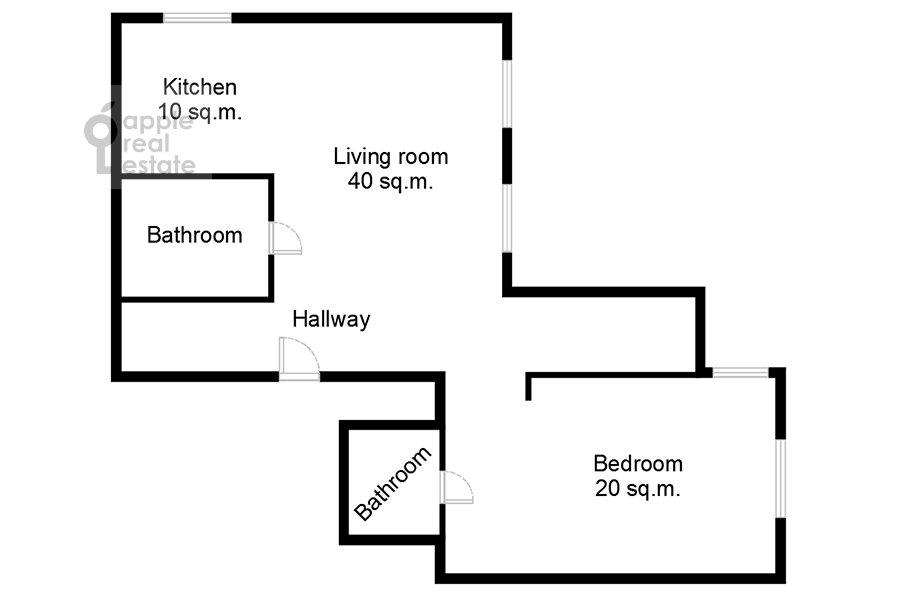 Поэтажный план 2-комнатной квартиры по адресу 1-й Красногвардейский проезд 22с1