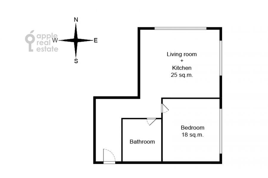 Floor plan of the 2-room apartment at Pervomayskaya ulitsa 42k2
