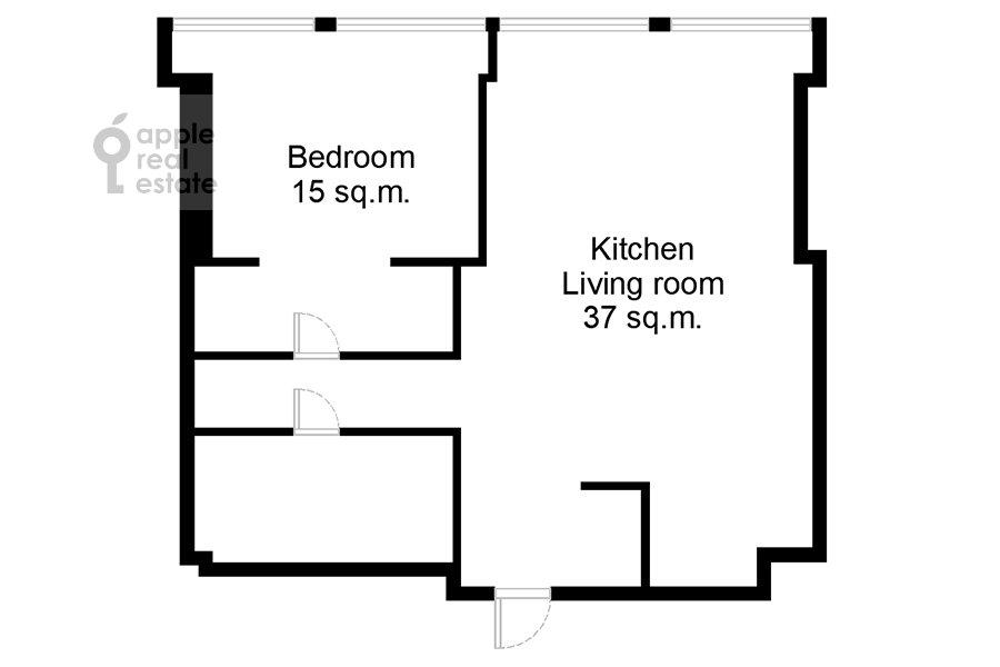 Floor plan of the 2-room apartment at 1-y Krasnogvardeyskiy proezd 22k2