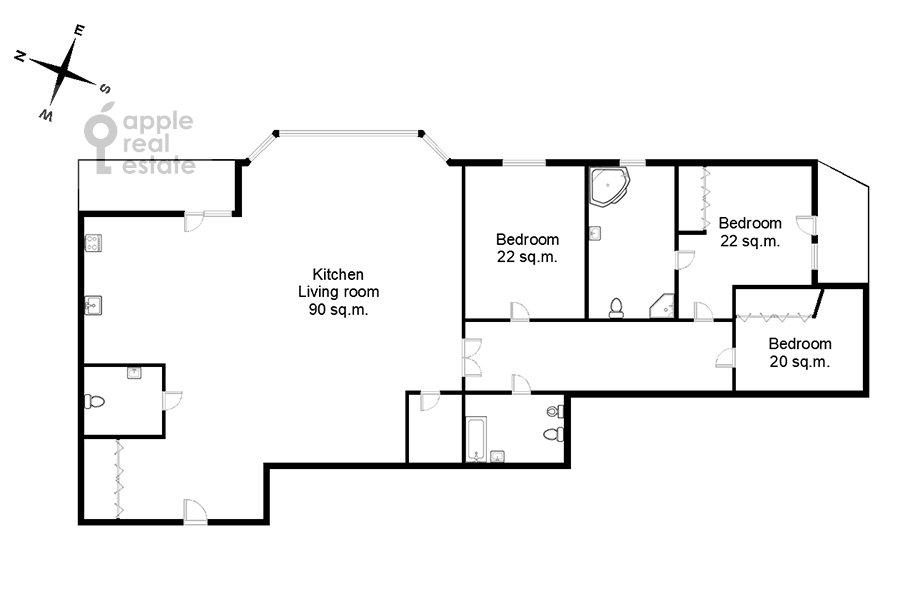 Floor plan of the 4-room apartment at 1-y Spasonalivkovskiy pereulok 20