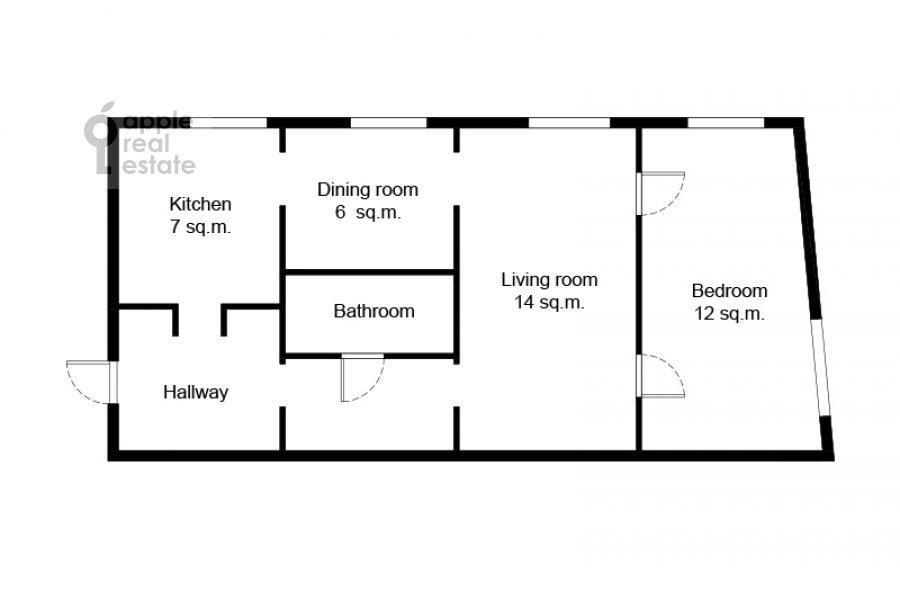 Поэтажный план 2-комнатной квартиры по адресу Малый Предтеченский переулок 6