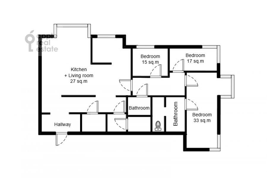 Поэтажный план 4-комнатной квартиры по адресу Мосфильмовская улица 70к3