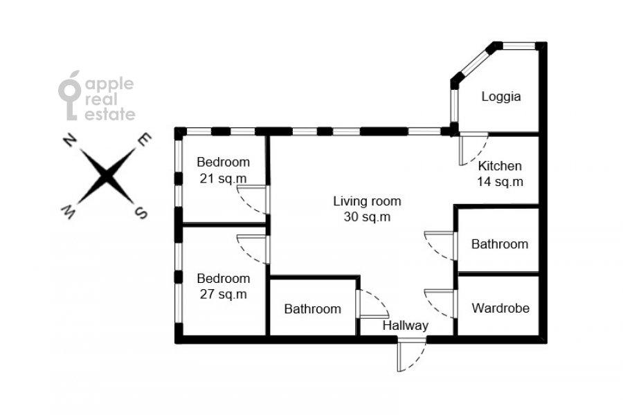 Поэтажный план 3-комнатной квартиры по адресу Мосфильмовская улица 88к7