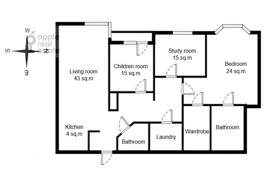 Floor plan of the 4-room apartment at Aviatsionnaya ulitsa 79k1