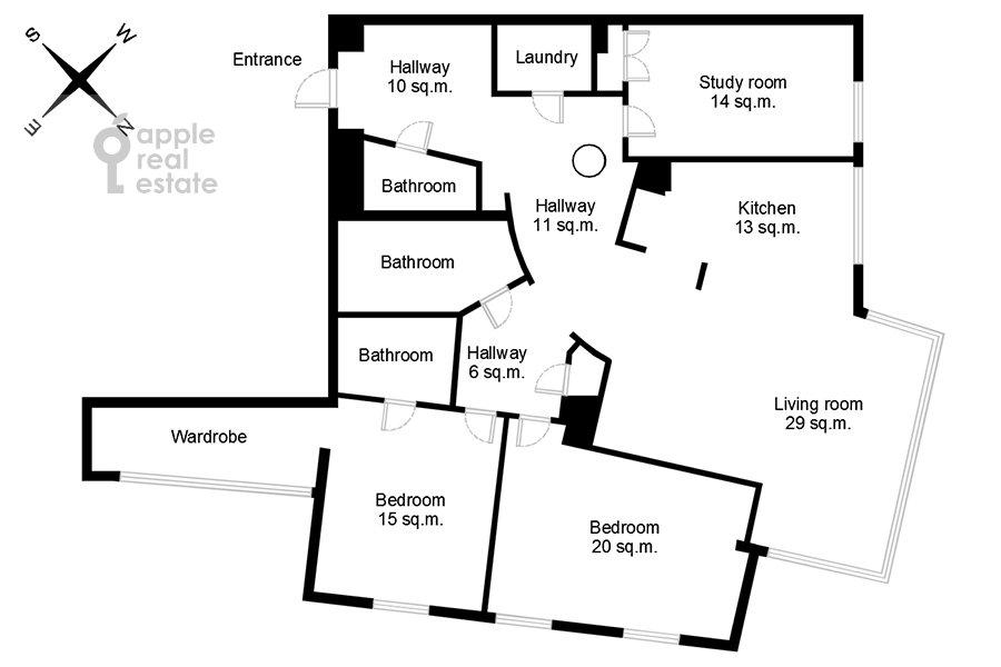 Поэтажный план 4-комнатной квартиры по адресу Скатертный переулок 18
