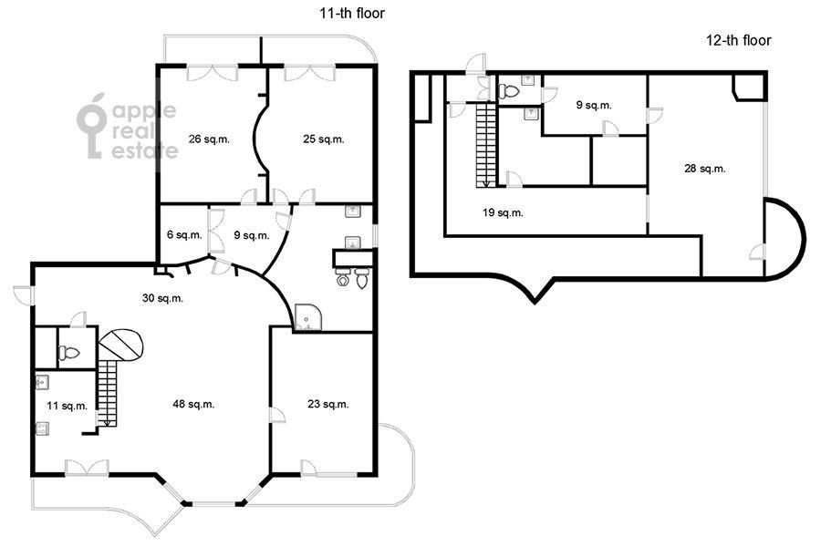 Поэтажный план 5-комнатной квартиры по адресу Красная Пресня 21