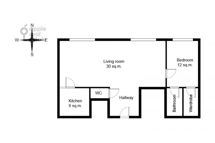 Поэтажный план 2-комнатной квартиры по адресу Новый Арбат 15
