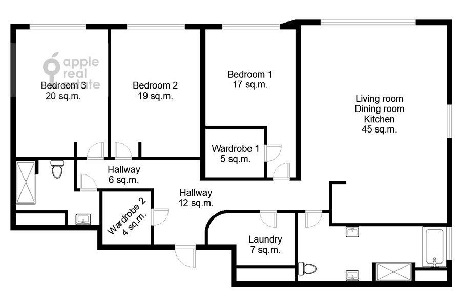 Поэтажный план 4-комнатной квартиры по адресу Мосфильмовская улица 8