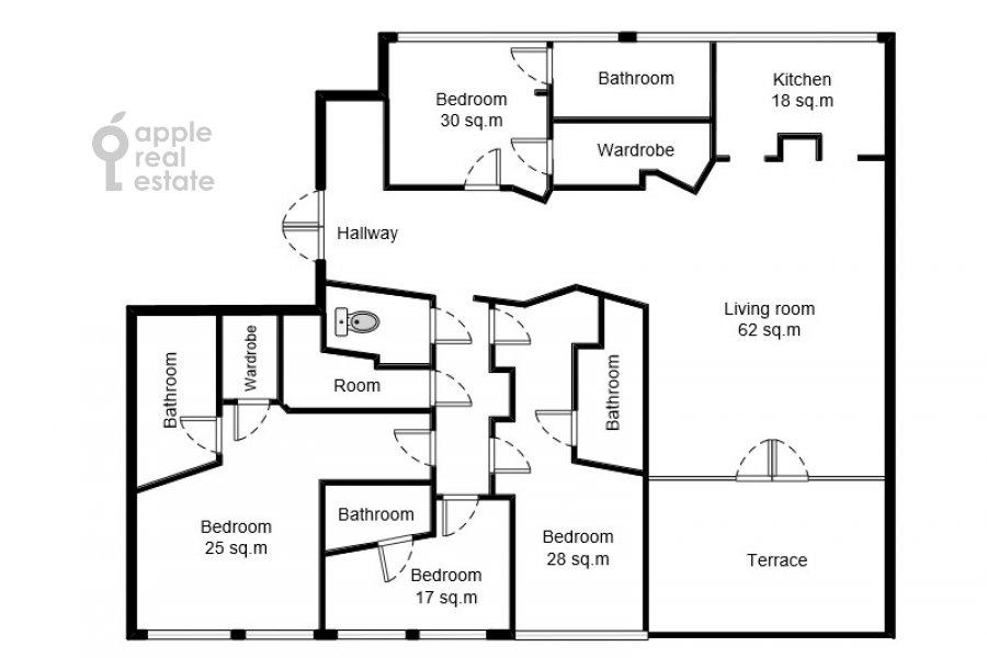 Поэтажный план 6-комнатной квартиры по адресу Большой Левшинский переулок 11