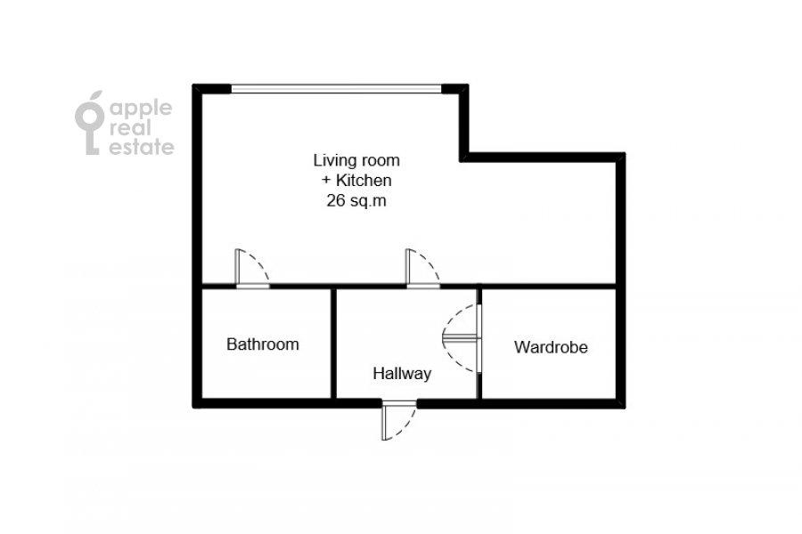 Floor plan of the studio apartment at Presnenskaya naberezhnaya 8s1