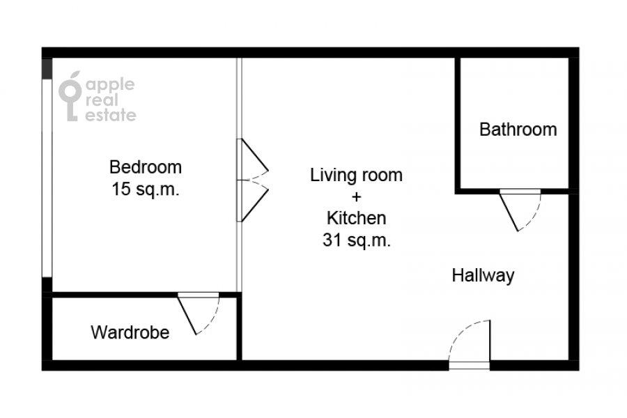 Floor plan of the 2-room apartment at Presnenskaya naberezhnaya 8s1