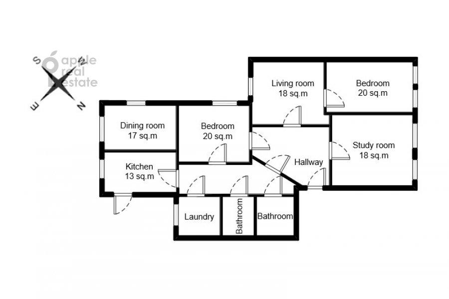 Поэтажный план 4-комнатной квартиры по адресу Фурманный переулок 6