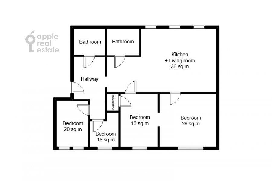 Поэтажный план 4-комнатной квартиры по адресу Садовая-Спасская улица 19с1