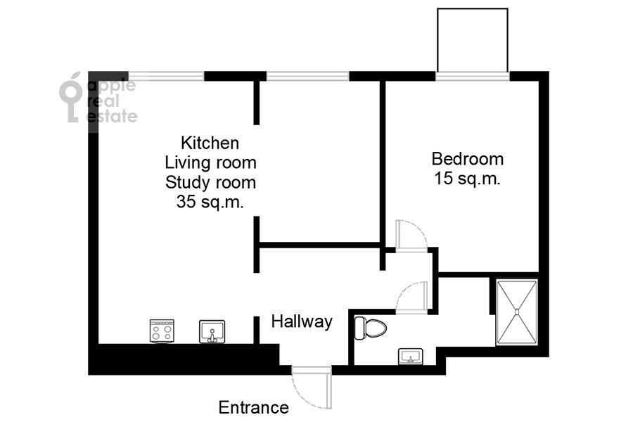 Поэтажный план 2-комнатной квартиры по адресу Черняховского 19к3