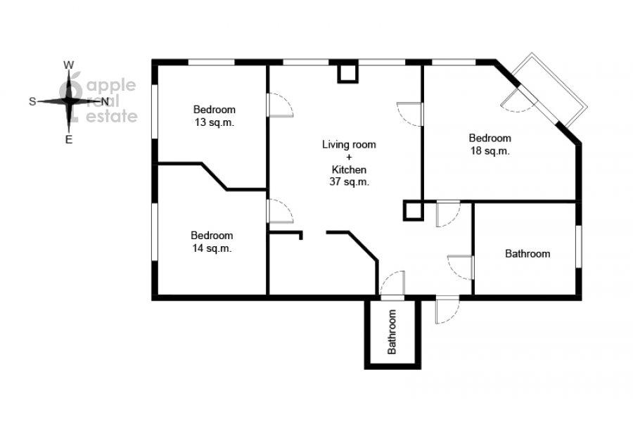 Поэтажный план 4-комнатной квартиры по адресу Мясницкая улица 17С2