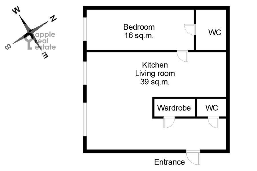Поэтажный план 2-комнатной квартиры по адресу Шмитовский проезд 16с2