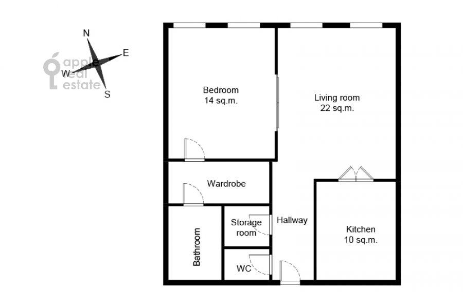 Floor plan of the 2-room apartment at Povarskaya ulitsa 8/1k1