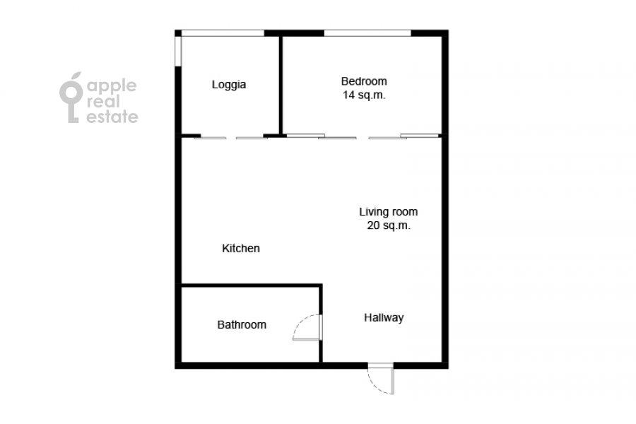 Floor plan of the 2-room apartment at Leningradskoe shosse 52B