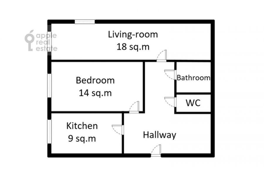 Floor plan of the 2-room apartment at Tverskaya ulitsa 8