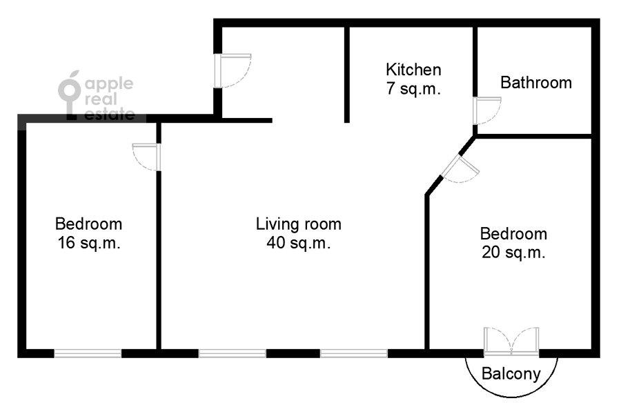 Поэтажный план 3-комнатной квартиры по адресу Благовещенский пер. 5